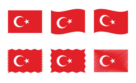 Turkey flag set, official colors and proportion of the Republic of Turkey flag