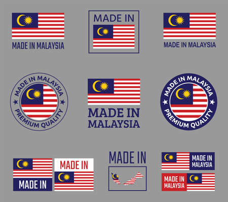 made in Malaysia icon set, product labels of Malaysia Ilustracja