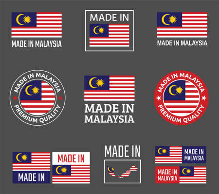 made in Malaysia labels set, product emblem of Malaysia Ilustracja