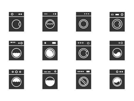 wash machine signs, laundry icons set instruction Stock Illustratie