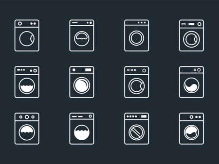 laundry icons set with washing machine symbols Stock Illustratie