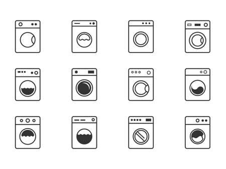 washing machine icon set, laundry symbols with wash machine Stock Illustratie