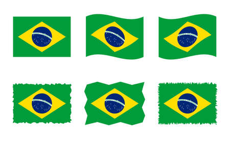Brazil flag set, official colors and proportion of Federative Republic of Brazil flag