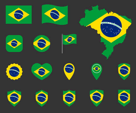 Brazil flag icons set, symbols of the flag of Federative Republic of Brazil