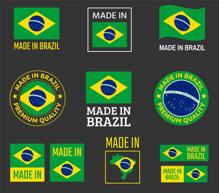 made in Brazil icon set, product labels of Federative Republic of Brazil