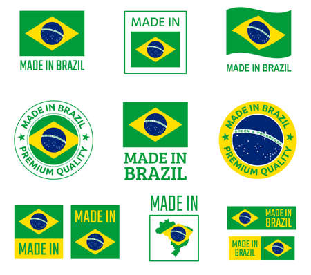 made in Brazil labels set, Federative Republic of Brazil product emblem Ilustracja