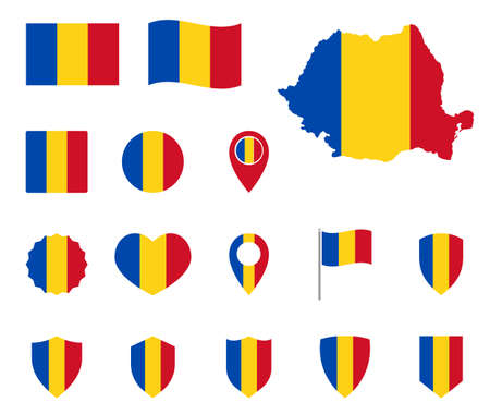 Romania flag icons set, symbols of the flag of Romania