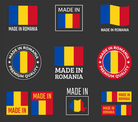 made in Romania icon set, product labels of Romania