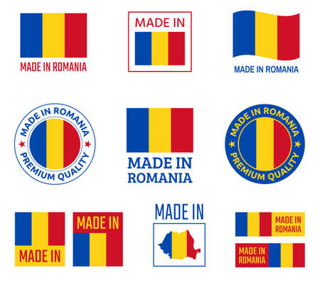 made in Romania labels set, product emblem of Romania