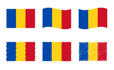 Romania flag set, official colors and proportion of the flag of Romania