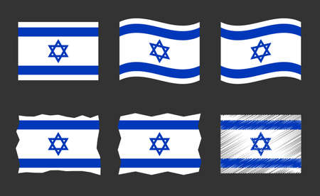 Israel flag vector illustration set, official colors of State of Israel flag Ilustracja