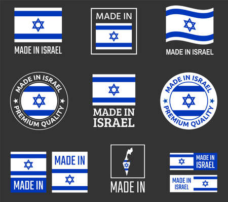 made in Israel icon set, made in State of Israel product labels