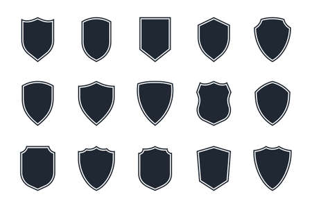 shield icon set on white background, shield symbols in flat style for web design, app, ui, logo