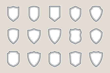 shield icon vector illustration, shield icons set in vintage style Ilustracja