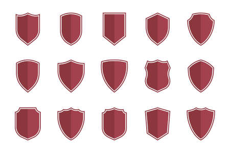 shield symbols in flat style for web design, shield icon set Ilustracja