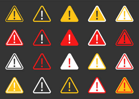 Hazard warning attention icon set, signs warning of the danger Ilustracja