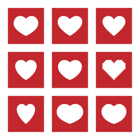 heart icons and symbols for social media, like and love icon set
