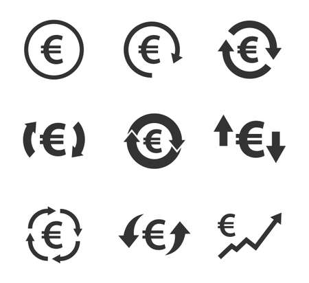 euro exchange icon set, currency convert, finance signs