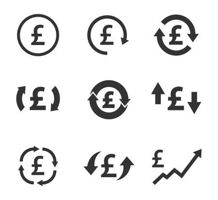pound exchange icon set, currency convert, finance signs  イラスト・ベクター素材