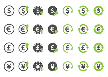 finance icon set, currency exchange vector signs