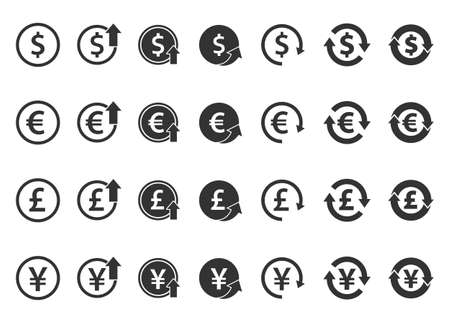 currency icons set - dollar, euro, pound and yen, currency exchange signs