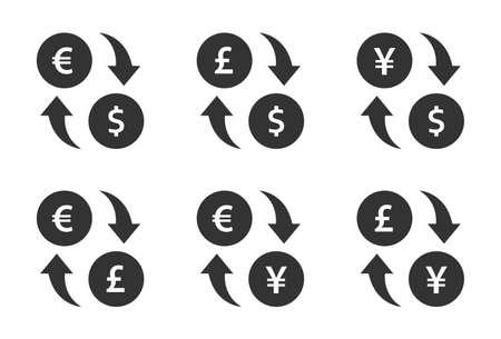 currency exchange icon set. dollar, euro, yen and pound cash transfer signs Ilustração