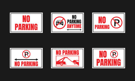 Parking is prohibited icon set, no parking signs
