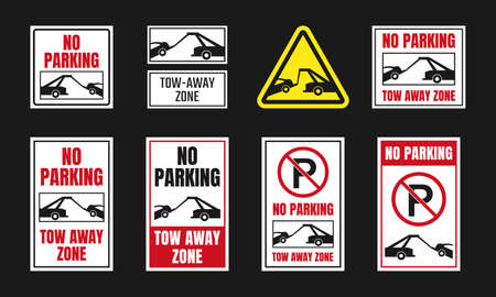 tow away zone signs, no parking icon set
