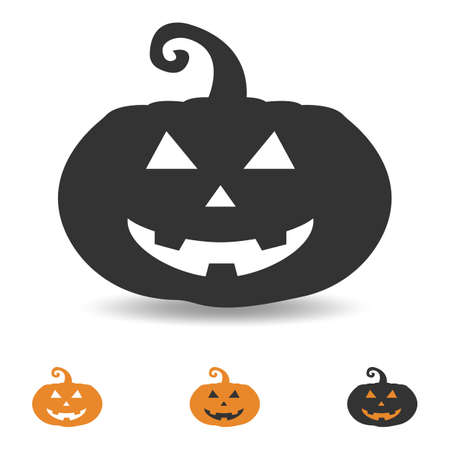 halloween pumpkin icon, scary face for party design