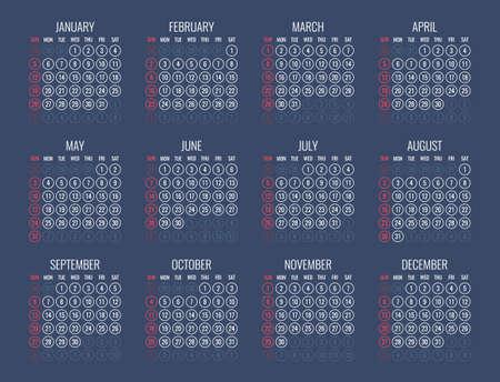 il calendario per il 2020 inizia domenica, disegno del calendario vettoriale 2020 anno