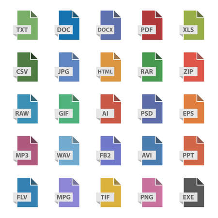 Conjunto de signos vectoriales de formato de documento, iconos planos de archivo
