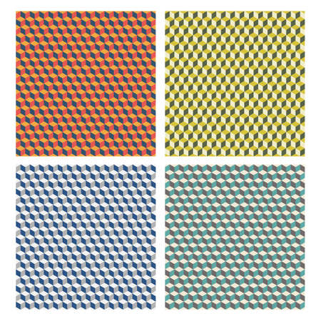abstract geometric seamless patterns, cubes vector background