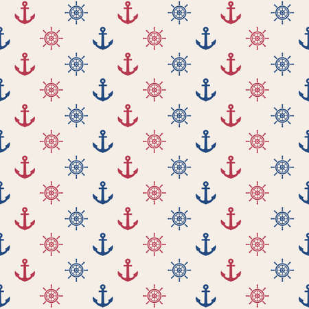 anchor and rudder seamless pattern, marine vector background