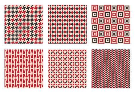 retro seamless pattern set, vintage textile texture Ilustração