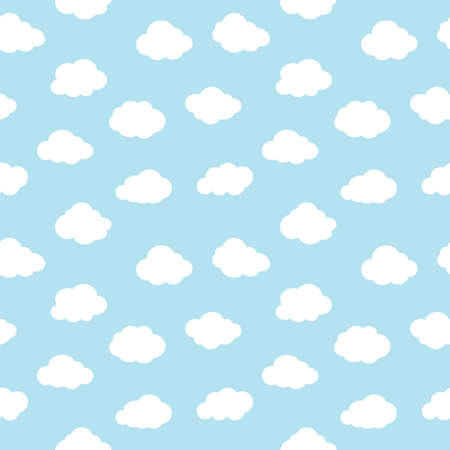 clouds seamless pattern, blue sky with white clouds background Çizim