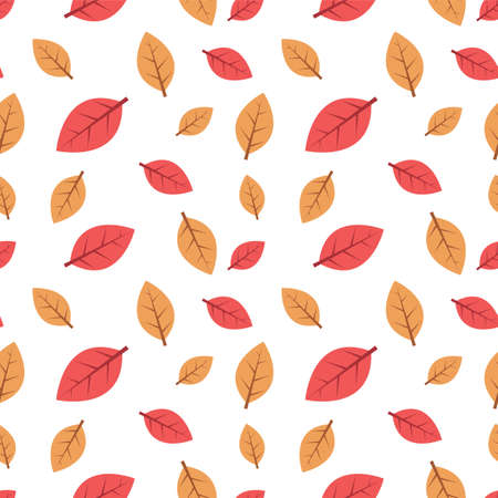 Autumn leaves seamless pattern, vector background with leaves