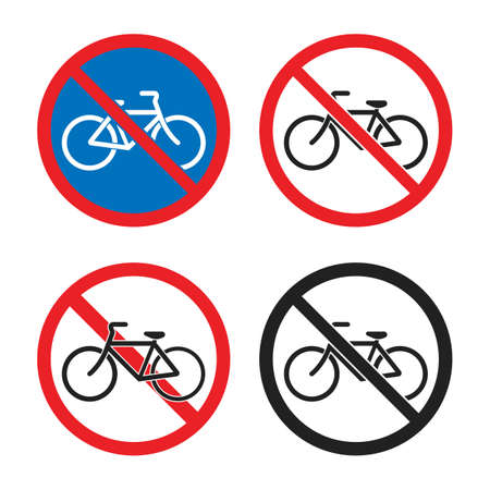 cycling prohibited area, no bicycle icons