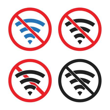 no wi-fi signal sign, no wifi area Ilustração