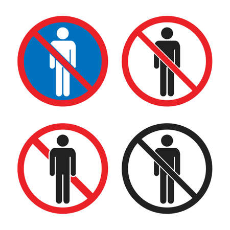 no entry icon set, no people sign with man silhouette Çizim