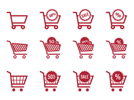 shopping cart icon set, sale and discount icons with trolley