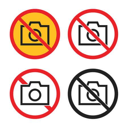 no photo icons set, no camera signs Ilustração