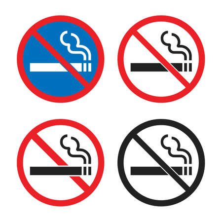no smoking icon set, smoking is prohibited signs