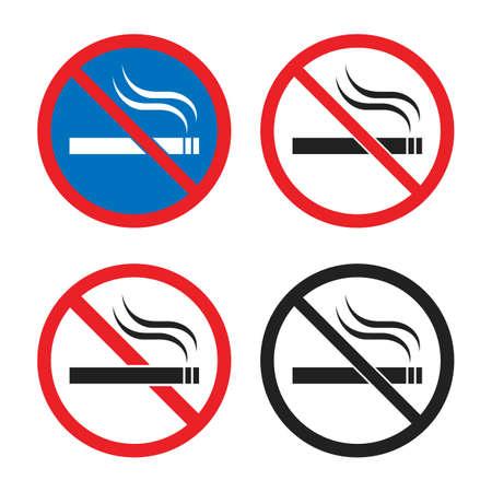 Smoking is prohibited icon set, no smoking signs Ilustração