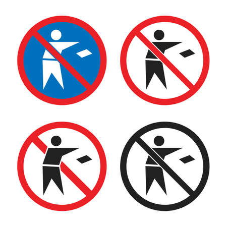 do not throw garbage icon set, no littering signs