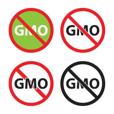 gmo free sign set, non gmo icons