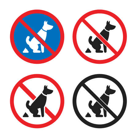 no pet waste sign, no dog poop icon set