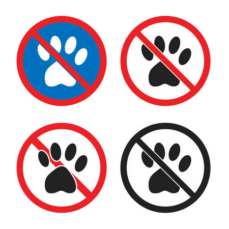 No pets allowed sign, animal prohobition icon set with dog paw