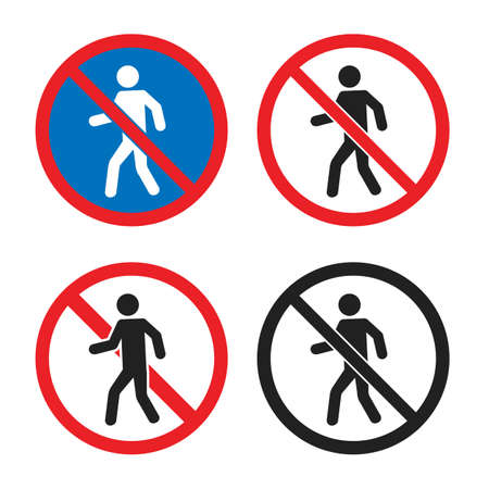 no entry icon set, no pedestrian sign with man silhouette Çizim