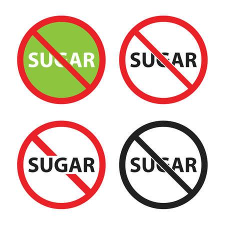 sugar free sign set, no sugar icons
