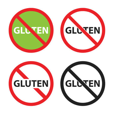 gluten free sign set, no gluten icons